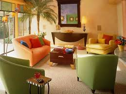 bright colorful home. Interior, Colorful Home Decor Ideas For Living Room With Orange Sofa And Two Green Sofas Bright