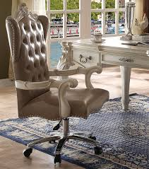 versailles bone white faux leather tufted lift and swivel office chair