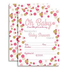 Polka Dot Invitations Pink Gold Polka Dot Baby Shower Invitations Girl