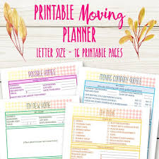 Moving Planner Printable Moving Checklist Packing Inventory Etsy