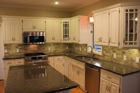 backsplash ideas for black granite countertops. Marble Countertops Backsplash Offset Honed Stone Tiles With Black Granite Countertop White Cabinet Kitchen Dining Ideas For