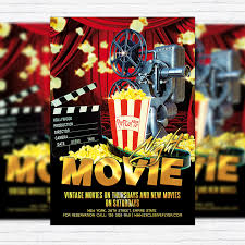 Free Movie Night Flyer Templates Movie Night Premium Flyer Template Facebook Cover