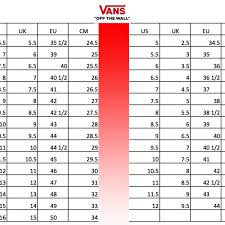 Vans Size Chart Inches 70 Detailed Shoe Size Cross Reference Chart
