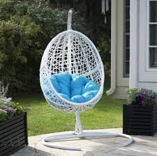outdoor furniture egg chair hanging egg chair with stand white resin wicker blue cushion outdoor patio outdoor furniture egg
