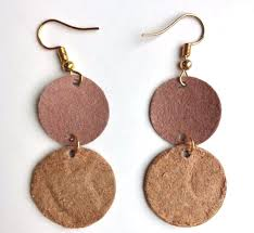 circle leather earrings double circle drop and dangle leather jewelry teal brown fashion leather earrings handmade gold color finish
