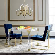 jacques acrylic game table modern furniture jonathan adler argos and chairs toddler luciterd chair als merced lucite dining french with gold