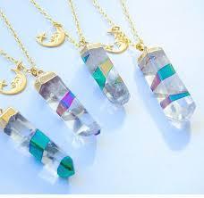 jewels holographic crystal quartz moon and stars necklace moon necklace choker necklace crystal quartz