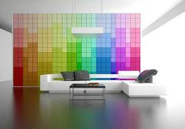 The Pixel wall design in rainbow color combination