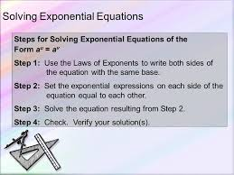 solving exponential and logarithmic equations section ppt