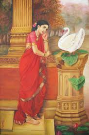 hamsa damayanthi princess damayanthi talking with royal swan about nalan oil painting on canvas paragsankhe com