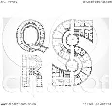 Royalty-Free (RF) Clipart Illustration of a Digital Collage Of  Architectural Black And White Blueprint Styled Letters Q, R, And S by  BestVector