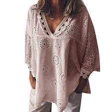 Women 3/4 Sleeve V Neck Hollow Out Floral Print ... - Amazon.com