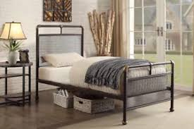 Details about Scaffold Design Rustic Metal Bed Frame Bronze Mesh Headboard & Foot End