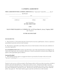 Catering Agreement Catering Services Agreement Template Templates At