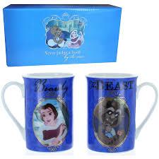 disney beauty and the beast set of two china mugs gift