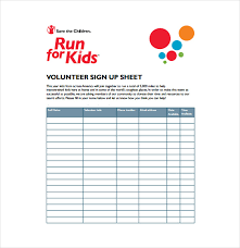 program sheet template sign up for volunteer sheet template for your event or program