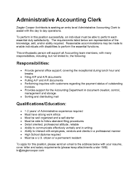 appealing resume sample for administrative accountant clerk job appealing resume sample for administrative accountant clerk job position responsibilities and education
