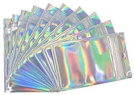 <b>50 PCS</b> Large Resealable Smell Proof Bags, <b>Holographic</b> Color Foil ...