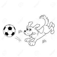 coloring page outline of cartoon dog with soccer ball coloring book for kids stock vector