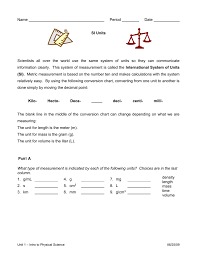 Units Unit Conversions Worksheet