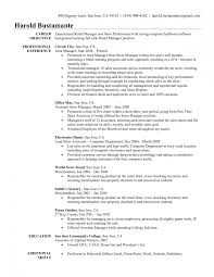 Sales Manager Resume Objective Examples Of Resumes Hotel Management