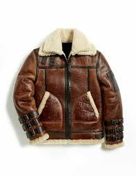 mens winter aviator raf b3 shearling real sheepskin leather er flying jacket