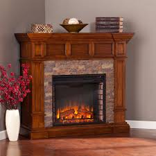 w faux stone corner electric fireplace in buckeye oak