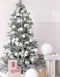 This is indeed one of our favorite Christmas dcor trends of 2017. We  totally love the idea of decorating a flocked Christmas tree with white  frangipani ...