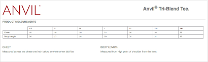 Anvil T Shirts Size Chart Flarewell Anvil Tri Blend T Shirt