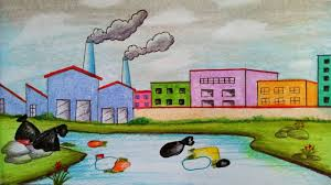 How To Make Chart On Pollution How To Draw Scenery Of Environmental Pollution Step By Step Easy Draw