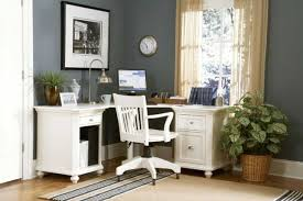 glorious simple home office interior. Glorious White Wooden Swivel Chairs Feat L Shape Office Table As Decorate In Small Gary Painted Modern Home Decor Ideas Simple Interior E