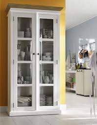 white hutch with glass doors