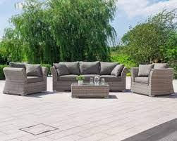 grey 3 seater rattan garden sofa set