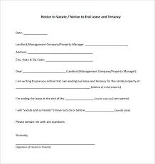 Notice To Vacate Letter Letter Sample Notice To Landlord Of Termination Lease Vacate The