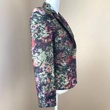 Floral Brocade Tahari Black Multi Asl Floral Brocade Jacket Blazer Size 4 S 61 Off Retail