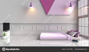 Weiß Lila Schlafzimmer Dekoriert Mit Lila Bett Baum Glasvase