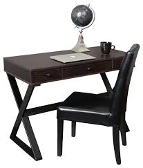 geena 3 drawer dark brown wood writing desk transitional desks and hutches