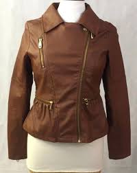 details about steve madden faux leather brown jacket size small p gold zippers 100 polyester