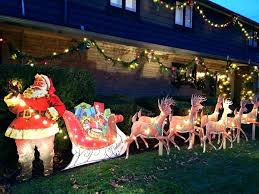 beautiful outdoor reindeer decorations decors sleigh santa and decoration lawn lighted decorati