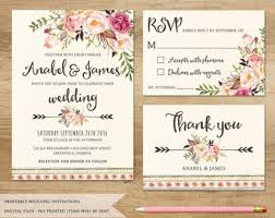 Printable Wedding Invitation Items Similar To Floral Wedding Invitation Printable Wedding
