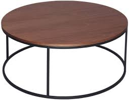 westminster walnut coffee table round with black base