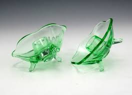 uranium depression glass candlestick holders
