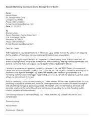 Marketing Sample Cover Letter Resume Letter Collection