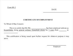 Format Of Employer Certificate Free 19 Sample Employment Certificate Templates In Pdf Psd