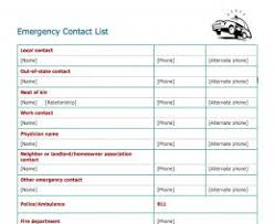 emergency contact template emergency contact list template emergency alert system