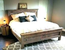 Grey Wooden Bed Frames Rustic Wood Frame Small Double Reclaimed Uk ...