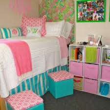 exciting design dorm room ideas come with brown wooden bed frame and white blue chic design dorm room ideas
