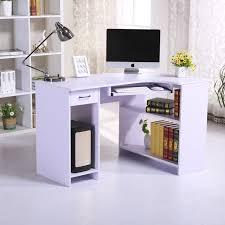 homcom pc corner desk w storage drawer shelf w118xd77xh76 cm white aosom co uk