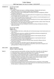 Plant Manager Resume Samples Velvet Jobs