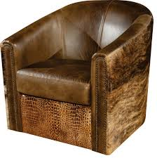 vonnegut rustic leather swivel tub accent chair
